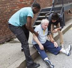 elderly man fallen, getting help