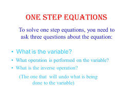3 one step equations to solve
