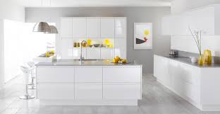 kitchen white glossy kitchen cabinet and double grey pendant lamps over white kitchen islands with
