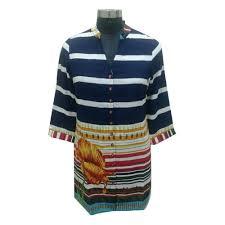 blue and white las striped tunic top