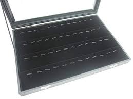 jewelry display box. Perfect Display Glass Top Lid Black Velvet Jewelry Display Box For Pendants Charms 56 Clips On Y