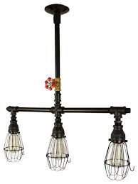 glaston 3 light chandelier with wire cages