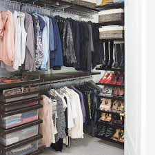 Walk In Closet Walnut Elfa Daccor Walk In Closet The Container Store