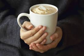 cup of hot chocolate. Contemporary Chocolate Woman Holding Mug Of Hot Chocolate With Melted Marshmallows Mid Section  Closeup Inside Cup Of Hot Chocolate O