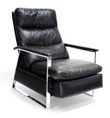 mid century modern leather chair chrome