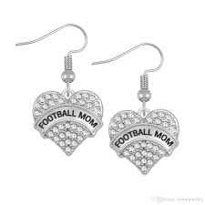 fashion design crystals embed football mom grand mom engraved charm earrings heart drop earring women jewelry gift for mom
