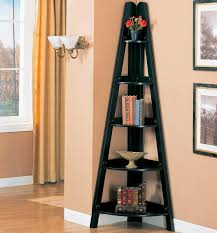 corner furniture piece. Interior. Black Wooden Corner Shelf Units With Five Racks On The Connected By White Furniture Piece P