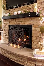 classic metal screen for stone fireplace mantels and beautifull flower on black storage