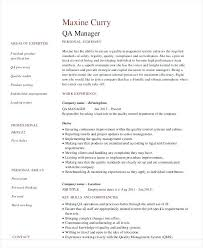 Quality Assurance Resume Sample Quality Assurance Manager Resume