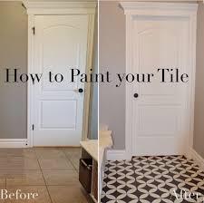 diy painted tile tutorial floor stencil painted tile cement tile
