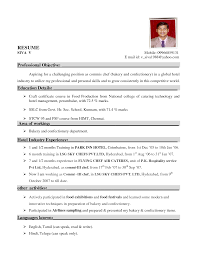 Resume Format For Hotel Industry Resume Format