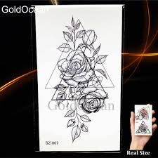 Geometry Skech Triangle Flower Temporary Tattoo Women Stickers Fake Tatoos Cypress Men Fashion Arm Compass Waterproof Tattoo Diy