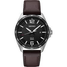seiko men s essentials brown leather strap watch sne487