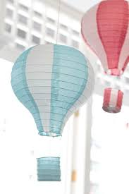 Hanging Hot Air Balloon Decorations from a Vintage Hot Air Balloon Birthday  Party via Kara's Party