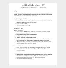 Php Developer Resume Web Developer Resume Template 15 Sample Resumes Word