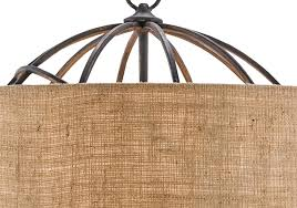 iron orb chandelier with burlap shade