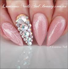 Luminous Nails: Nude Acrylic Nails with Swarovski Crystals...