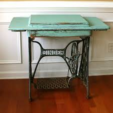 antique entryway table. Vintage Turquoise Entryway Table Desk. Singer Treadle Sewing Machine. Office Teal. Antique N