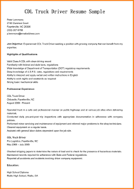 Commercial Truck Driver Resume Sample Cdl Truck Driver Resume Sample