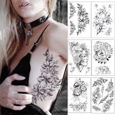эскиз цветок пион роза водонепроницаемый временные татуировки стикер