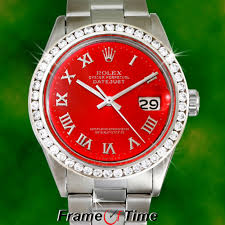 rolex mens datejust red oyster date diamond stainless steel r rolex mens datejust red oyster date diamond stainless steel r quickset watch