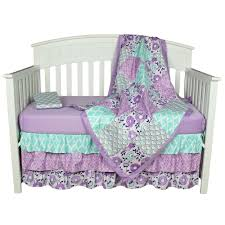 the peanut shell baby girl crib bedding set purple fl design zoe 4 piece set includes coverlet dust ruffle and two fitted sheets com