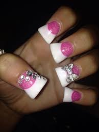 flare pink and white glitter diamond bow nails
