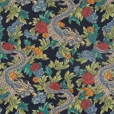 navy blue upholstery yardage dragon fabric print cotton fabric animal dry blue