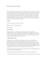 Management Objectives For Resume Resume Objective Hospitality With ...