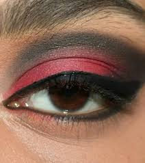 stunning red and black eye makeup step by step tutorial with image