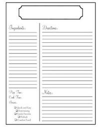 Recipe Form Templates Recipe Sheet Template Rome Fontanacountryinn Com