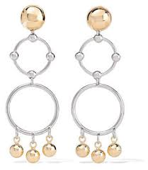 ed borgo barbell chandelier gold and rhodium plated earrings one size