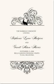 Bird Themed Peacock Wedding Programs Wedding Ceremony