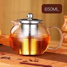 one day clear glass teapot bpa free glass tea kettle with heat resistant stainless