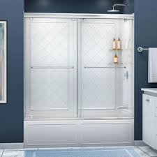 dreamline charisma 56 in 60 in x 60 in semi framed sliding bypass tub and shower door in chrome and backwall with glass shelves dl 6997 01cl the home