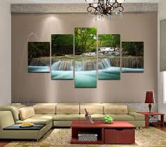 Paintings For Living Room Walls 5 Panels Huge Hd Beautiful Green Waterfall Top Rated Canvas Print