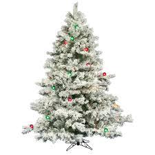 White Tree Colored Lights Vickerman 6 5ft Flocked White On Green Christmas Tree 600 Multi Color Lights