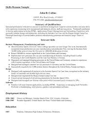 Resume Sample Summary Skills Summary Resume Examples Sample Of Qualifications Relevant 58
