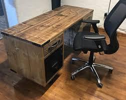 industrial office desk. Vintage Industrial Reclaimed Office Desk With Filing Drawers, Pedestal Rustic