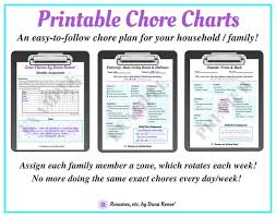 Household Chore Chart For Couples Weekly Printable Chore Charts Zone Chore Schedule Parents Children Planning Organization Household Chores Chore List Zone Cleaning