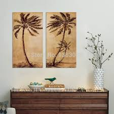 hand painted abstract palm tree paintings on canvas 2 piece oil pictures wall art decoration home modern set in painting calligraphy from home garden on  on palm tree wall art set with hand painted abstract palm tree paintings on canvas 2 piece oil