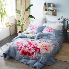 watercolor comforter set. Brilliant Set Watercolor Flowers Skyblue Bedding Set Queen King Size Duvet Covers Bed  Sheets Pillowcase 100 Cotton Throughout Comforter W