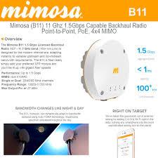 Mimosa Link Design Mimosa B11 11 Ghz 1 5gbps Capable Ptp Backhaul Radio Poe