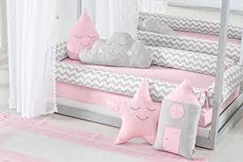 Toddler House Bed Montessori Pink/Chevron Baby Girl 5pc Nursery Bedding Set  Bumpers + Duvet