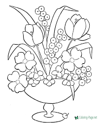 Free flowers coloring page to print and color flowers coloring page with few details for kids Flower Coloring Pages