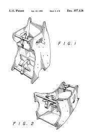 patent usd357128 combination high chair rocking horse and desk with proportions 2320 x 3408