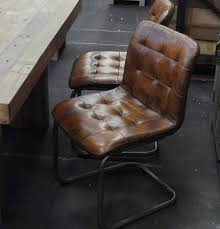 vintage leather chair perfect as a dining or office chair sy metal frame comfort is second to none