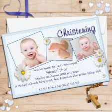 baptism cards 10 personalised boys daisy christening baptism invitations photo invites n49