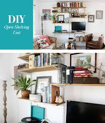 diy mounted open shelving unit