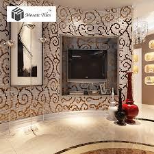 tst mosaic collages golden auious clouds curve wall backsplash crystal glass mirror tiles